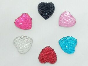 New Sparkly Heart Flatback Embellishments 10mm x 10 various Colours Craft