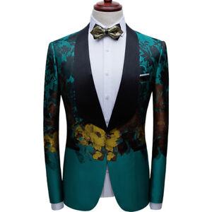 Mens Fashion Slim Printed Blazer Jacket Singer Stage Show Banquet Photo Studio L