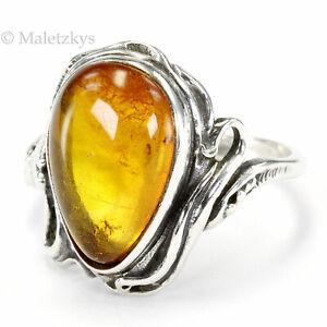 Gold der Ostsee - Vintage Ring Bernstein 80er Jahre 925 Silber 16,8 mm Gr. 53