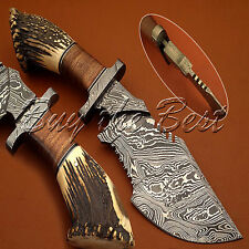 BEAUTIFUL CUSTOM HAND MADE DAMASCUS STEEL HUNTING TRACKER BOWIE KNIFE WITH STAG