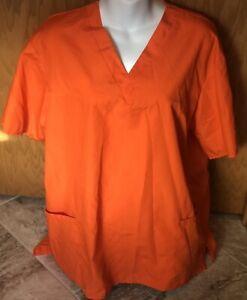 Natural Uniforms Bright Orange Medical Worker Scrub Top Size Medium