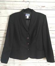 Pendleton Womens Size 12 100% Virgin Wool Black Blazer Four Button Closure