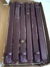 """Set of 6 Partylite Mulberry Unscented Square Taper Dinner Candles Unscented 10"""""""