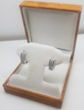 WHITE GOLD FINISH HUGGIES DOUBLE ROW CREATED DIAMOND ROUND LADIES EARRINGS