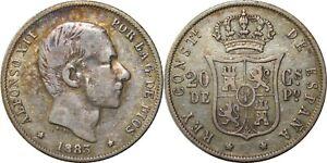 1883 Spain/Philippines 20 Centimos ~ VF ~ KM#149 ~ 83.5% Silver ~ QP405
