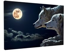 ANIMAL - FANTASY WOLF CANVAS PICTURE PRINT WALL ART CHUNKY FRAME LARGE 2022-2