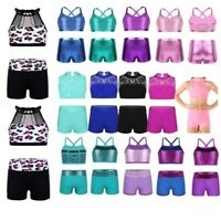 Girls Crop Top+Shorts Dancewear Ballet Leotard Gymnastics Sport Costume Outfit