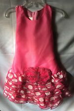 Isobella and Chloe Girls Pink Dotted Ruffled Drop Waist Party Dress Size 5-New
