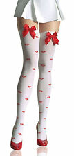 Sexy Lady White Nylon Knee Highs Stockings Hosier&Top Bow Printed Fancy Costume