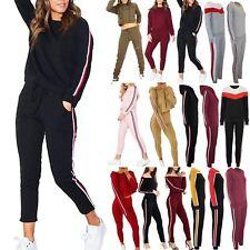 Womens Side Stripes Tops Pants Sweatshirt Sports Suits 2 Piece Ladies Tracksuit