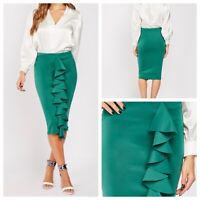 GLAMOUR STYLE Ladies Green Skirt Size 20 Ruffle Front Stretchy Wiggle Pencil NEW