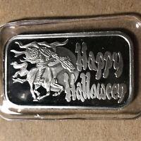 Happy Halloween 1 Ounce .999 Silver Art Bar SEALED