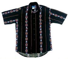 Vintage Wrangler Western Pearl Snap Shirt Short Sleeve Black Aztec Size M