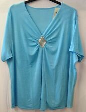 Turquoise Blue Stretchy Diamante Party Tunic Tshirt Top Plus Size 28/30 (A79)
