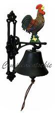 Campana campanello campanaccio in ghisa con gallo galletto da muro e da esterno