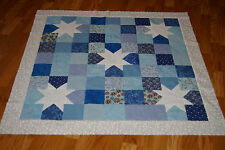Shades of Blue with White Stars Quilt Top for Baby