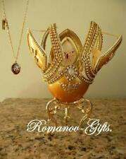 Russian Empress Monarch Butterfly Golden Music Box Egg with Pendant Necklace