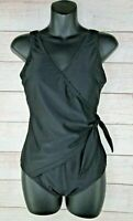 Shore Shapes One Piece Swimsuit Women's Size 12 Black Wrap Style Tummy Control