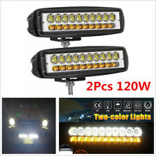 Waterproof 2Pcs 120W Car Top LED Work Light Dual Color Fog Lamp Driving Lights