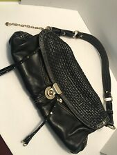 Hayden Harnett black leather woveen medium hobo bag purse tote