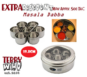 Indian Masala Dabba 7 Bowls & Spoon a Box with See Through Lid Stainless Steel
