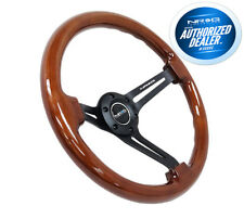 "NRG Steering Wheel Brown Wood Grain Black Spokes 350mm 3"" Deep RST-018BR-BK"
