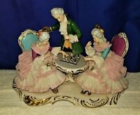 "DRESDEN Porcelain Lace Art Figurine - ""The Chess Match"" Two Ladies & Man Servent"