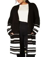 Style & Co Womens Sweater Black White 0X Plus Striped Button Up Cardigan $89 036