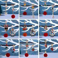 Christmas Tassel Ball Star Stud Earrings Drop Dangle Women Xmas Jewelry Fashion