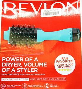 Revlon One-Step Hair Dryer & Volumizer Hot Air Brush Mint Colored New Free Ship.