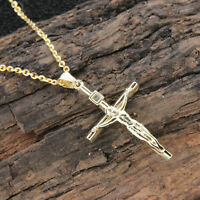 """14k Yellow Gold Over 925 Sterling Silver Jesus Christ Cross Pendant W/18"""" Chain"""
