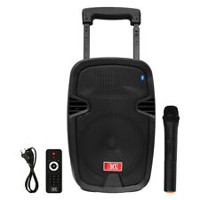 "MX 8"" Multimedia Trolley Portable Speaker Bluetooth USB Aux Wireless Microphone"