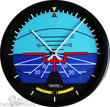 "New TRINTEC ARTIFICIAL HORIZON Wall Clock 10"" Round Aviation Instrument Guage"