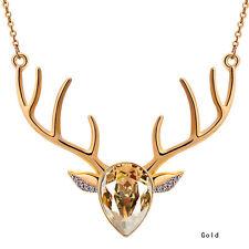 Cubic Zirconia Elk Antler Deer Head Pendant Chain Necklace Exquisite Delicate
