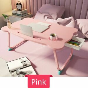 Computer Table Foldable Plastic Wooden Portable Laptop Stand Holder Furniture