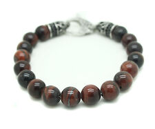 Genuine Tiger Eye Bracelet Stainless Steel Red Ball Bead Round Gemstone Skull