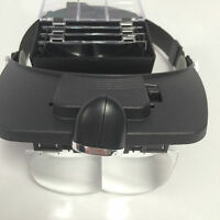 ADJUSTABLE HANDS FREE HEAD MAGNIFIER MAGNIFYING 2 LED GLASS WITH 4 LENS LOUPE