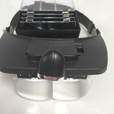 Lupa de cabeza ajustable de manos libres Lupa 2 LED lupa de lente de cristal con 4