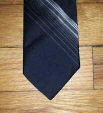 Via Re Tie Silk Black Gray Silver Diagonal Stripe NIB t4334