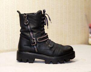 500$ LORIBLU navy lace up chunky platform ankle combat boots 40 uk6.5-7 us8.5-9