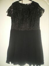 "A / WEAR DRESS SIZE 14 BLACK LACE & PLEAT SHORT SLEEVES 34"" LENGTH FULLY LINED"