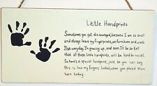 Child Poem LITTLE HAND PRINTS  Mom Gift wood Plaque New