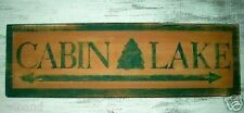 Primitive Sign CABIN LAKE Rustic Fishing Lodge