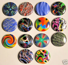 "14 ABSTRACT Buttons Pins Badges 1"" Colorful Funky Fun"