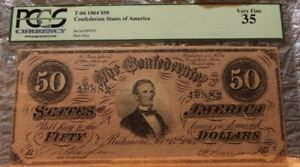 1864 $50 Confederate Currency PCGS 35