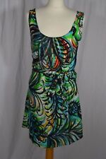 Green and black patterned silk strappy shift dress size M sleeveless swing