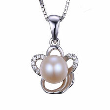 2ct Freshwater Pearl Flower Pendant Necklace Sterling Silver Special Occassion