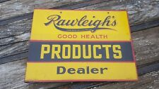 Vintage Rawleighs Products Dealer Flange Metal Sign Pharmacy Apothecary Bottle