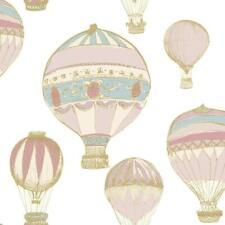 Hot Air Balloon Metallic Wallpaper Stripe Nursery Pink Blue Gold White Ideco