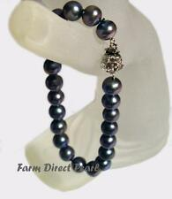 "Genuine 7-8mm Peacock Black Pearl Strand Bracelet 8"" Cultured Freshwater"